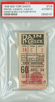 1939 New York Giants Ticket Stub vs Pittsburgh Pirates Waner 2B #531 - August 24, 1939 PSA/DNA Authentic