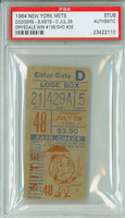 1964 New York Mets Ticket Stub vs Los Angeles Dodgers Don Drysdale Win #136, Shutout #26 - July 28, 1964 PSA/DNA Authentic