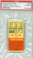 1952 Chicago Cubs Ticket Stub vs Brooklyn Dodgers Gil Hodges HR #114 Joe Black Save #2  - June 1, 1952 PSA/DNA Authentic