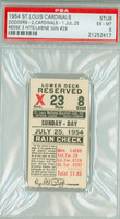 1954 St Louis Cardinals Ticket Stub vs Brooklyn Dodgers Clem Labine Win #29 Pee Wee Reese 3 Hits  - July 25, 1954 Excellent to Mint