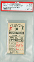 1956 St Louis Cardinals Ticket Stub vs Chicago Cubs Stan Musial HR #331 Ken Boyer HR #28  - May 27, 1956 PSA/DNA Authentic