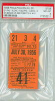 1956 Philadelphia Phillies Ticket Stub vs Chicago Cubs Ernie Banks HR #89 Robin Roberts Win #171  - July 30, 1956 Near Mint to Mint