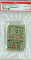 1957 Baltimore Orioles Ticket Stub vs New York Yankees Yogi Berra HR #242 Mickey Mantle 1 for 3  - May 10, 1957 PSA/DNA Authentic