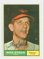 Wes Stock AUTOGRAPH 1961 Topps #26 Orioles CARD IS VG; AUTO CLEAN  [SKU:StocW1799_T61BBk]