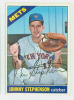 Johnny Stephenson AUTOGRAPH 1966 Topps #17 Mets CARD IS VG; CRN DING, AUTO CLEAN  [SKU:StepJ905_T66BBC]