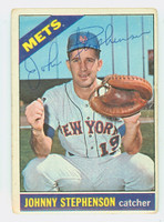 Johnny Stephenson AUTOGRAPH 1966 Topps #17 Mets CARD IS G/VG, CRN WEAR, AUTO CLEAN  [SKU:StepJ905_T66BBk]