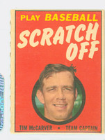1970 Topps Scratch Off Baseball Tim McCarver St. Louis Cardinals Excellent to Mint