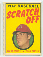 1970 Topps Scratch Off Baseball Sam McDowell Cleveland Indians Very Good to Excellent