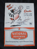 1960 Orioles Program vs Yankees (20 pg) Scored May 31 Walker vs Ford (Bal 3-2, Mantle 1-3, Double) Very Good [Back page torn, repaired with tape, ow Ex]