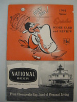 1961 Orioles Program vs Indians (28 pg) Unscored Excellent [Sl chip on right edge, ow near-mint]