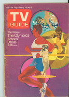 1972 TV Guide Aug 26 Olympics Central Indiana edition Good to Very Good - No Mailing Label  [Loose at staples, sl tears along binding; contents fine]