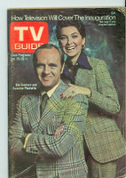 1973 TV Guide Jan 20 Bob Newhart and Suzanne Pleshette of Newhart (First Cover) Northen Indiana edition Good to Very Good - No Mailing Label  [Heavy scuffing on cover, some discoloration, contents fine]