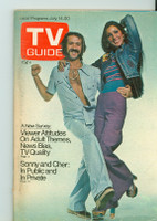 1973 TV Guide July 14 Sonny and Cher Los Angeles edition Good to Very Good - No Mailing Label  [Sl loose at staples, scuffing and creasing on cover, contents fine]