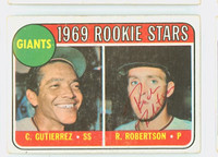 Rich Robertson AUTOGRAPH 1969 Topps #16 Giants ROOKIE CARD IS VG; CRN WEAR, AUTO CLEAN