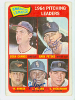 Peters-Pizarro DUAL SIGNED 1965 Topps AL Pitching Leaders #9 CARD IS F/G; CREASES