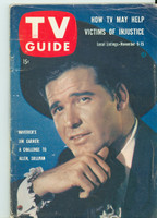 1957 TV Guide Nov 9 James Garner as Maverick (First Cover) Southern Ohio edition Very Good to Excellent - No Mailing Label  [Wear, scuffing and creasing on cover; contents fine]