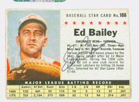 Ed Bailey AUTOGRAPH d.07 1961 Post #188 Reds BOX CARD IS G/VG; CRN WEAR, STAIN ON REVERSE  [SKU:BailE405_PO61BBVajl]