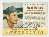 Frank Malzone AUTOGRAPH d.15 1963 Post #79 Red Sox CARD IS F/G; CREASE, AUTO CLEAN  [SKU:MalzF529_PO63BBjl]