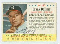 Frank Bolling AUTOGRAPH 1963 Post #149 Braves CARD IS CLEAN VG, EDGE IS OVER CLIPPED  [SKU:BollF546_PO63BBjl]