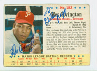 Wes Covington AUTOGRAPH d.11 1963 Post #182 Phillies CARD IS VG; CRN WEAR; PERSONALIZED; MK ON REVERSE  [SKU:CoviW575_PO63BBjl]