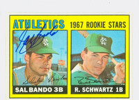 Sal Bando AUTOGRAPH 1967 Topps #33 Athletics ROOKIE CARD IS F/G; CREASE, AUTO CLEAN  [SKU:BandS911_T67BBC]