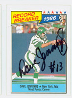 Dave Jennings AUTOGRAPH d.13 1987 Topps Football Record Breaker Jets 