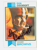 Don Cockroft AUTOGRAPH 1973 Topps Football #79 Browns CARD IS VG/EX