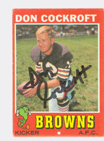 Don Cockroft AUTOGRAPH 1971 Topps Football #193 Browns CARD IS VG; CRN DING  [SKU:CockD50302_T71FBvg]