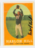 Harlon Hill AUTOGRAPH d.13 1958 Topps Football #80 Bears CARD IS POOR; CREASES, AUTO CLEAN