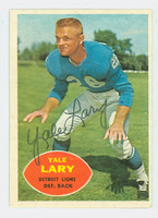 Yale Lary AUTOGRAPH d.17 1960 Topps Football #48 Lions HOF '79 CARD IS G/VG; CRN WEAR