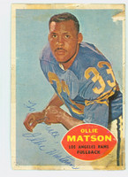 Ollie Matson AUTOGRAPH d.11 1960 Topps Football #63 Rams HOF '72 CARD IS POOR, TAPE ON CARD, SL PAPER LOSS