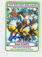 Dan Fouts AUTOGRAPH 1980 Topps Football #3 Record Breaker Chargers HOF '93 CARD IS G/VG; SL BEND  [SKU:FoutD52312_T80RB]