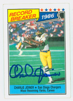 Charlie Joiner AUTOGRAPH 1987 Topps Football Record Breaker #4 Chargers HOF '96 CARD IS CLEAN VG; LT SURF CREASE