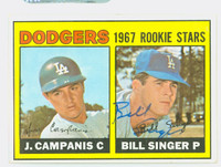 Bill Singer AUTOGRAPH 1967 Topps #12 Dodgers ROOKIE CARD IS VG; CRN DING OW CLEAN  [SKU:SingB926_T67BBR]