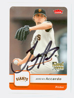 Jeremy Accardo AUTOGRAPH 2006 Fleer Giants 