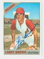 Larry Brown AUTOGRAPH 1966 Topps #16 Indians CARD IS F/P; LT CREASES  [SKU:BrowL6399_T66BBCOM]