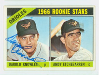 Darold Knowles AUTOGRAPH 1966 Topps #27 Orioles CARD IS VG; AUTO CLEAN  [SKU:KnowD1353_T66BBCOM]