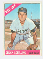 Chuck Schilling AUTOGRAPH 1966 Topps #6 Red Sox CARD IS G/VG; CREASE, AUTO CLEAN  [SKU:SchiC745_T66BBCOM]