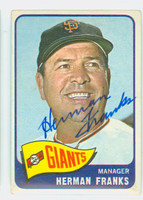 Herman Franks AUTOGRAPH d.09 1965 Topps #32 Giants CARD IS VG; AUTO CLEAN