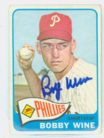 Bobby Wine AUTOGRAPH 1965 Topps #36 Phillies CARD IS VG; AUTO CLEAN