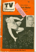 1951 TV Forecast February 17 Antonio Rocca (Wrestler) (40 pgs) Chicago edition Fair to Good  [Cover nearly completely spolit and detached]