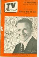 1951 TV Forecast March 31 Frank Sinatra (40 pgs) Chicago edition Fair to Good - No Mailing Label  [Cover completely split and detached]