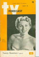 1951 TV Forecast July 21 Eileen Wilson of Hit Parade (48 pgs) Chicago edition Very Good - No Mailing Label
