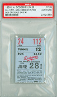 1959 Los Angeles Dodgers Ticket Stub vs Pittsburgh Pirates Gil Hodges HR #333 Drysdale Save #1 PSA/DNA Authentic Slabbed