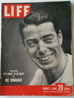 Life Magazine Joe DiMaggio of the New York Yankees August 1, 1949 Very Good [Binding partially split, wear on cover, lt creasing; great image of the Yankee Clipper (90 pgs)]