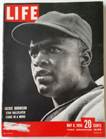 Life Magazine Jackie Robinson of the Brooklyn Dodgers May 8, 1950 Very Good to Excellent [Lt wear and scuffing on cover, ow very clean; contents fine, great cover image (154 pgs)]