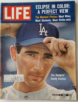 Life Magazine Sandy Koufax (First Cover) August 2, 1963 Very Good to Excellent [Lt wear, scuffing on both covers; contents fine, (72 pgs)]