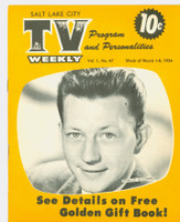 1954 TV Weekly Mar 1 Donald O'Connor (16 pages) Salt Lake City edition Excellent to Mint - No Mailing Label  [Lt scuffing and wear on covers, sl staining on reverse side; contents nice]
