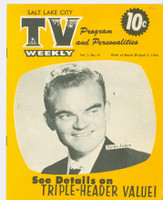 1954 TV Weekly Mar 29 Spike Jones (16 pages) Salt Lake City edition Very Good - No Mailing Label  [Heavy vertical crease, ow lt wear; contents fine]