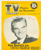 1954 TV Weekly Mar 29 Spike Jones (16 pages) Salt Lake City edition Excellent to Mint - No Mailing Label  [Very lt wear on covers, ow very clean]